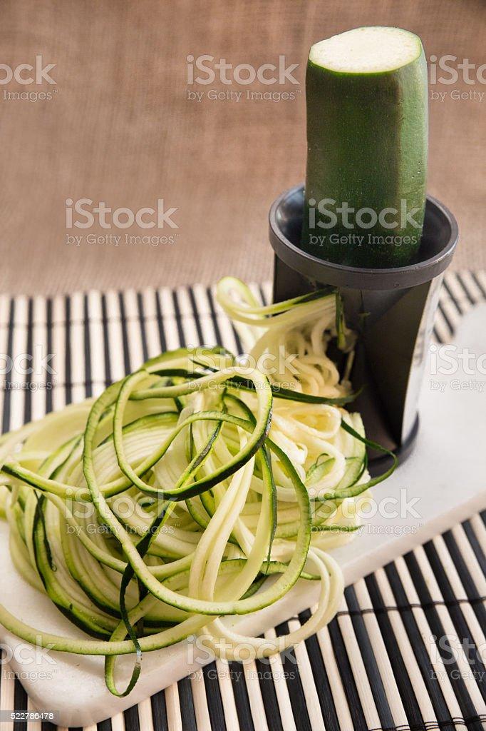 Spiral zucchini stock photo