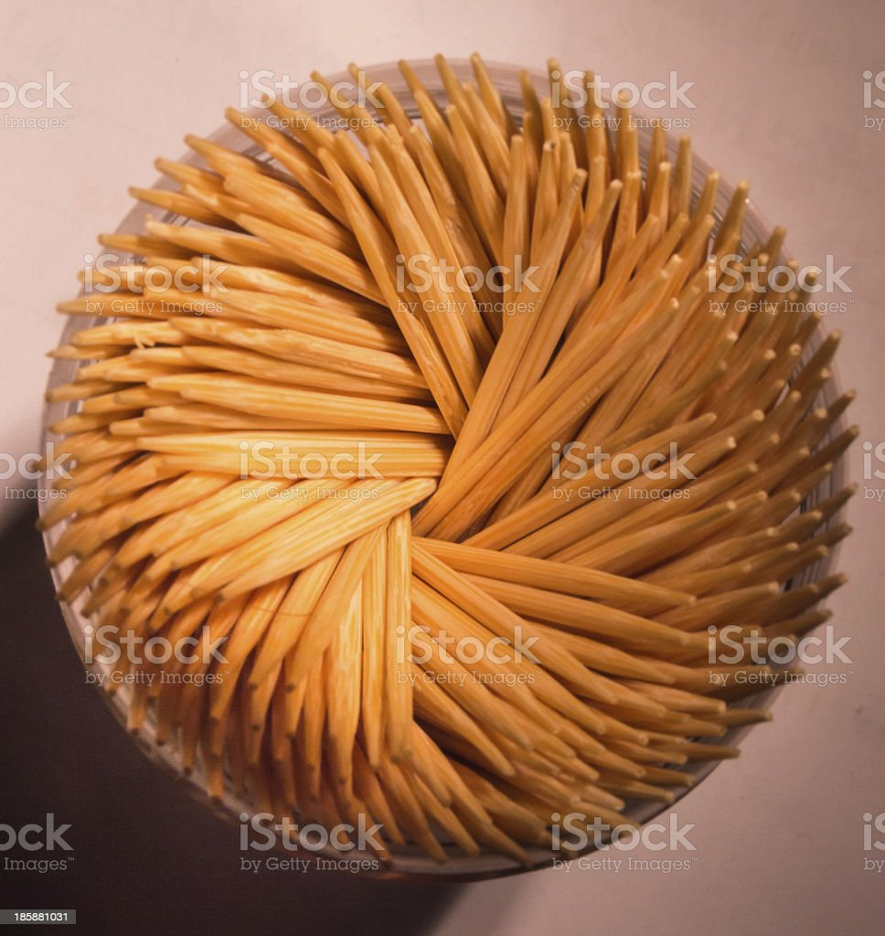 Spiraling Wooden Toothpicks Background royalty-free stock photo