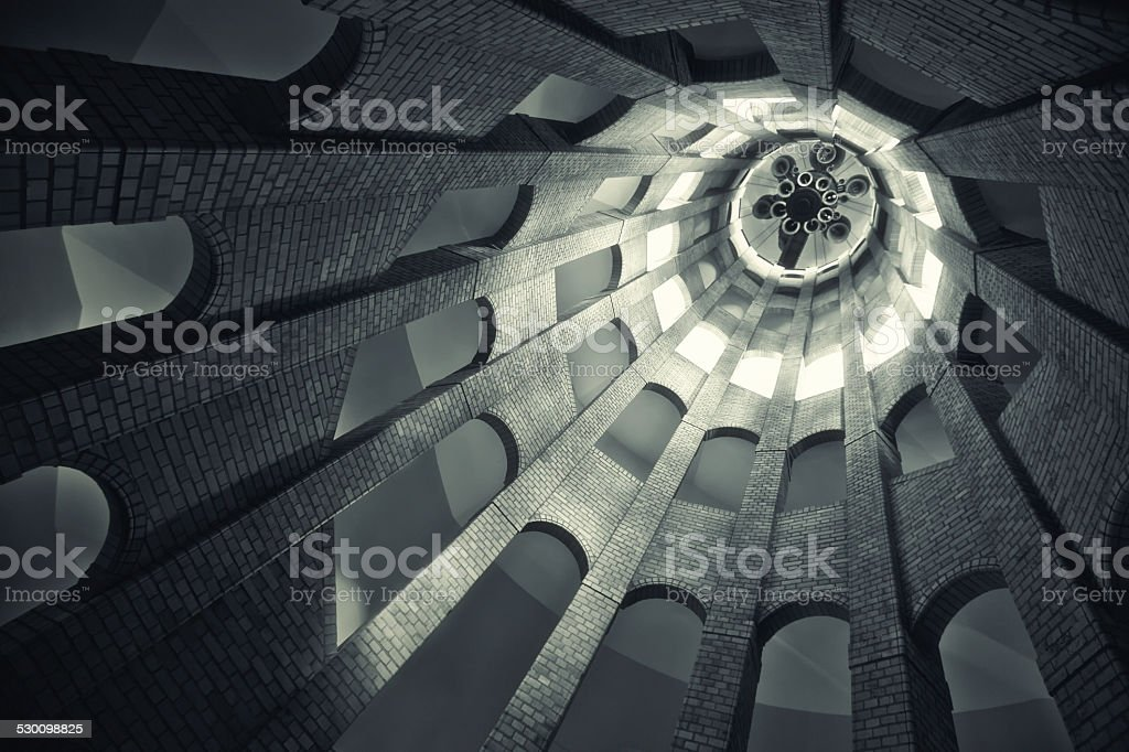Spiralling tower architecture stock photo