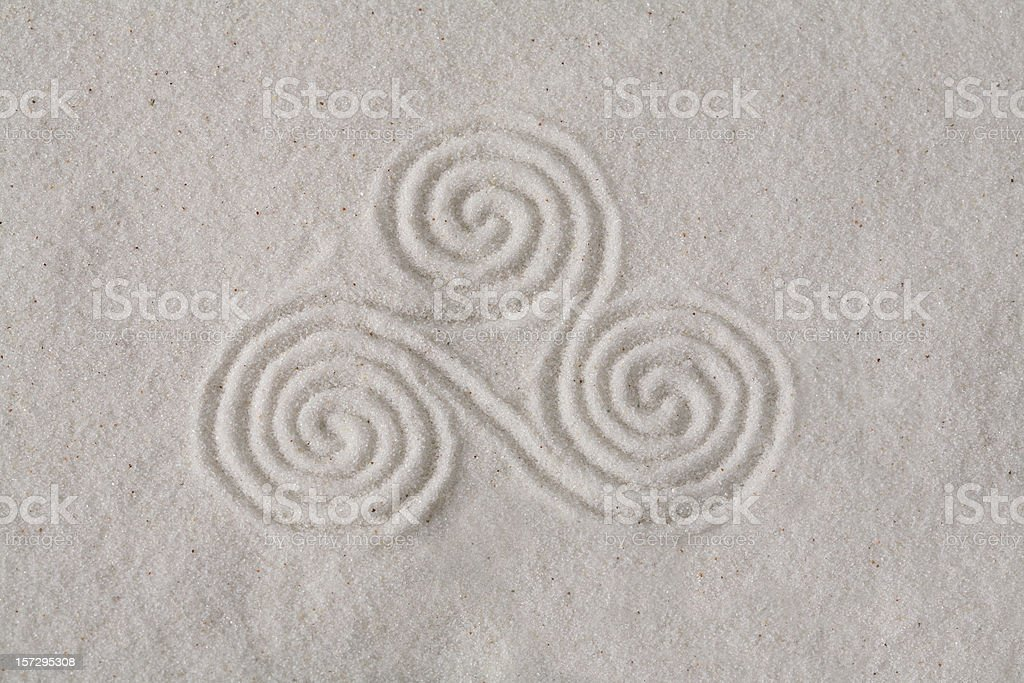 Spirals on sand 6 stock photo