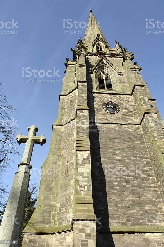 Spire and Cross stock photo