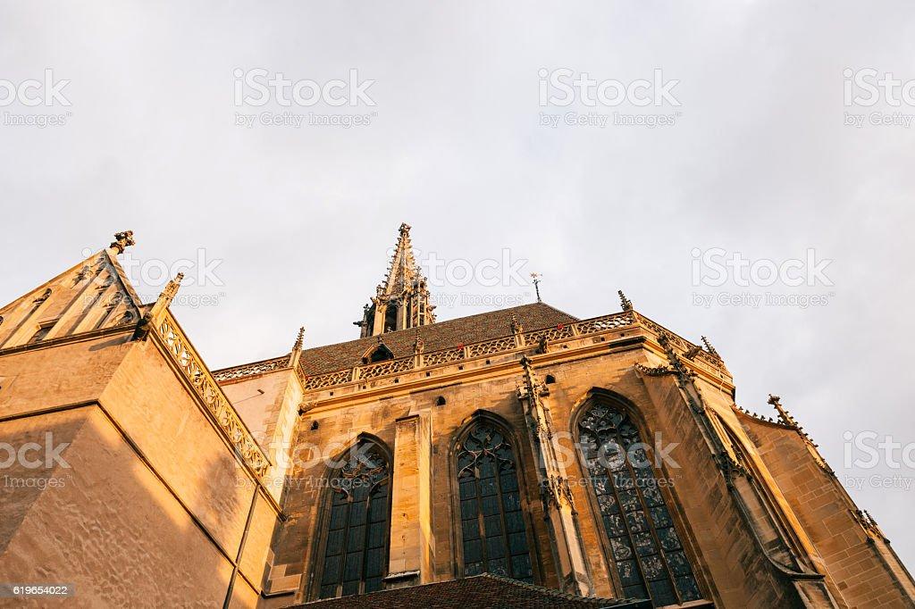 Spire detail of the ollegiale Saint-Thiebaut Thann Alsace stock photo