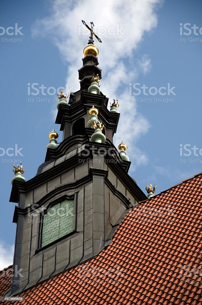 Spire of Corpus Christi Basilica stock photo