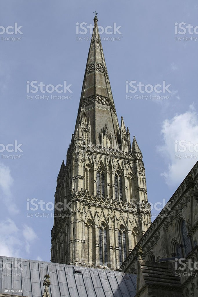 Spire of Salisbury Cathedral stock photo