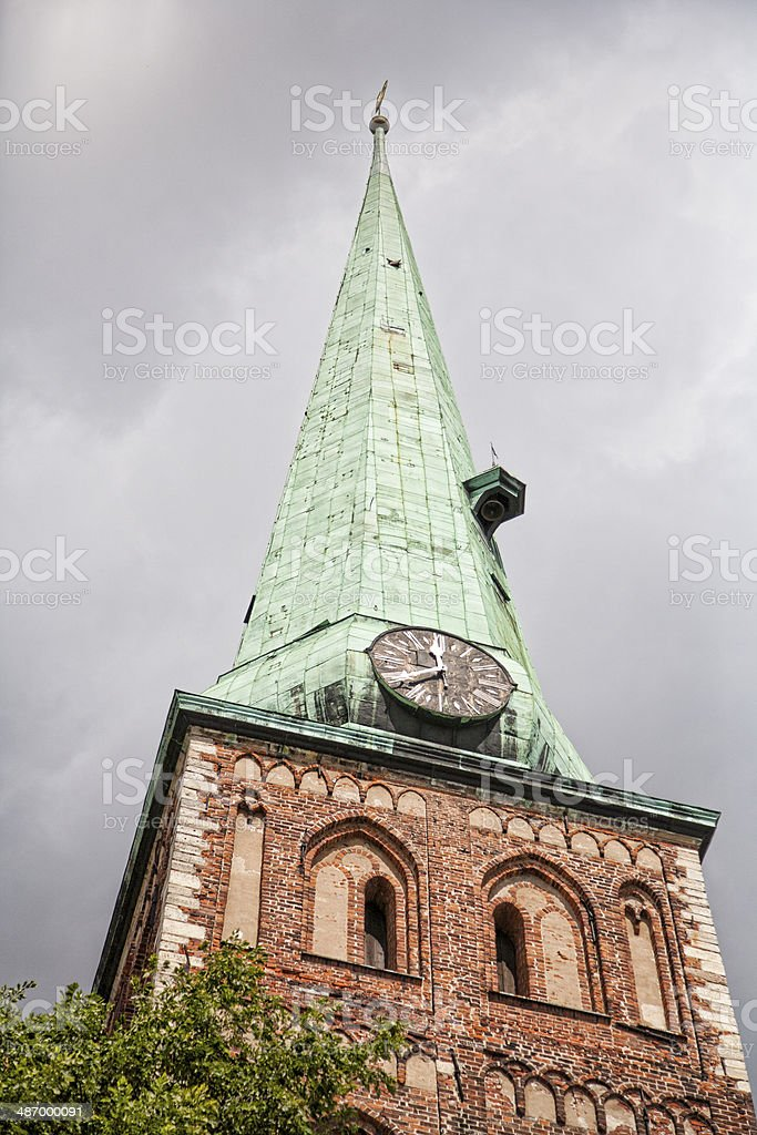 Spire of St. James's Cathedral in Riga, Latvia stock photo