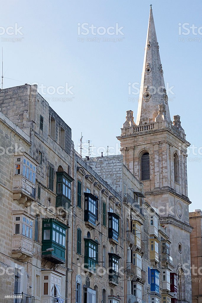 Spire of The Anglican Cathedral of St. Paul, Valletta stock photo