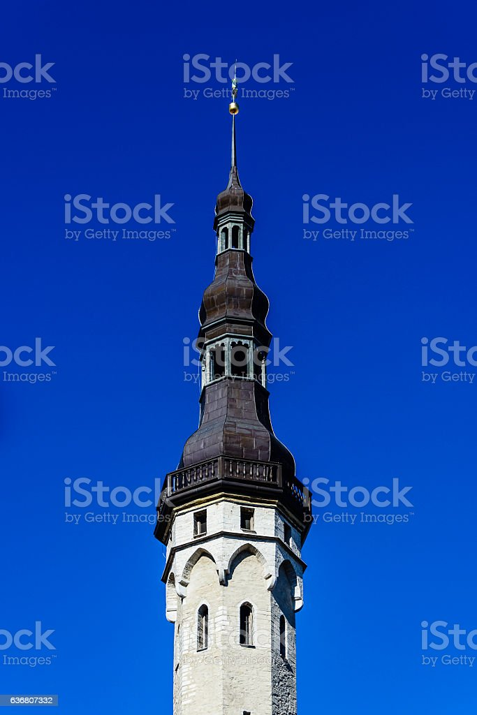 Spire of Town Hall, Old Town, Tallinn, Estonia stock photo