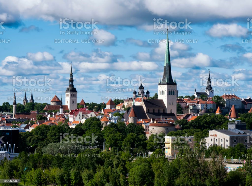 Spires in Tallinn Old Town, Estonia stock photo