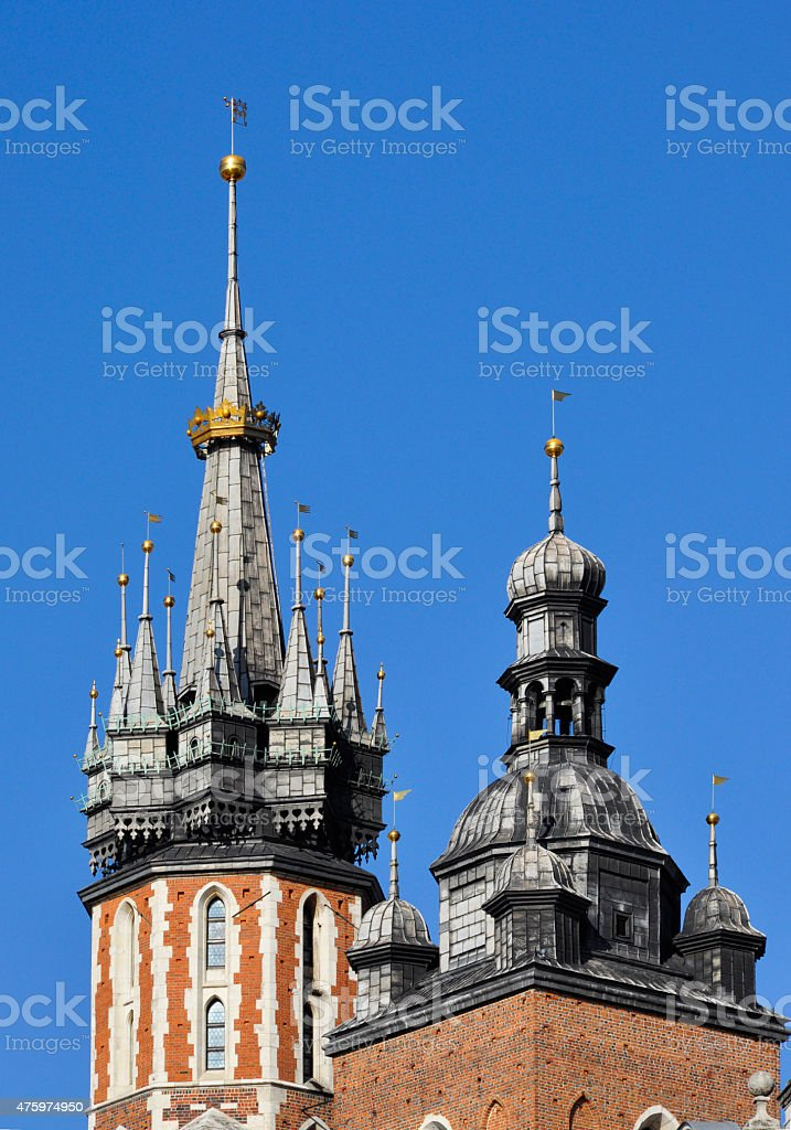 Spires of church towers stock photo