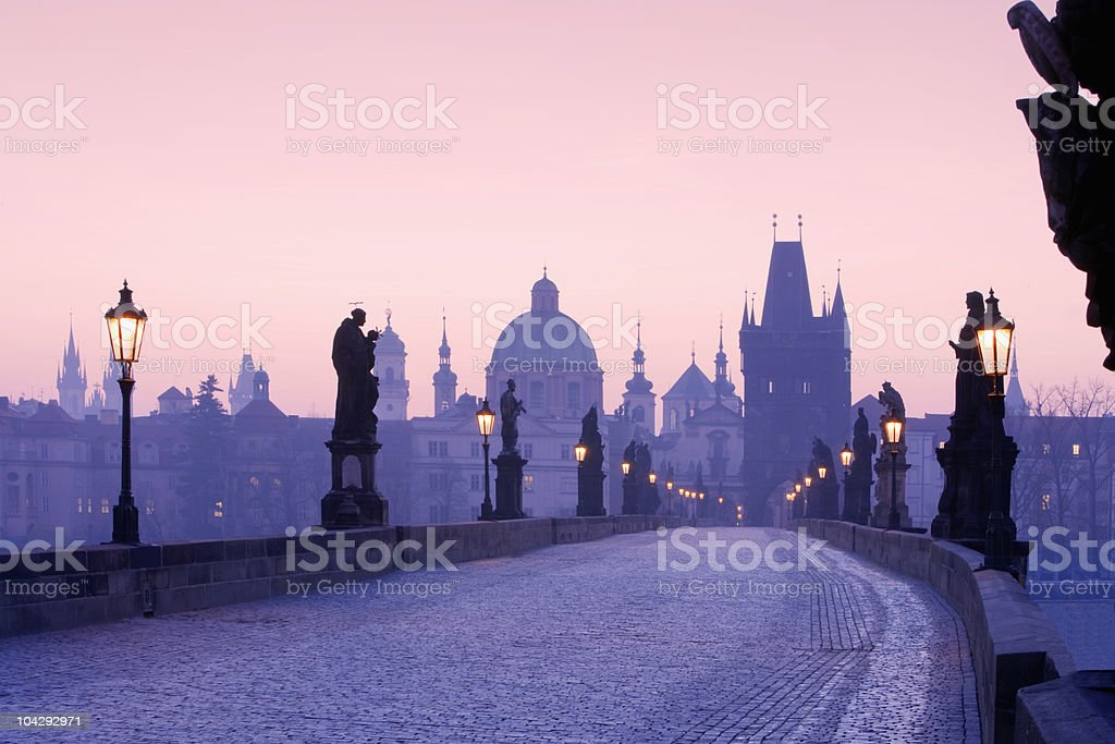 Spires of Old Town in Prague from Charles Bridge royalty-free stock photo