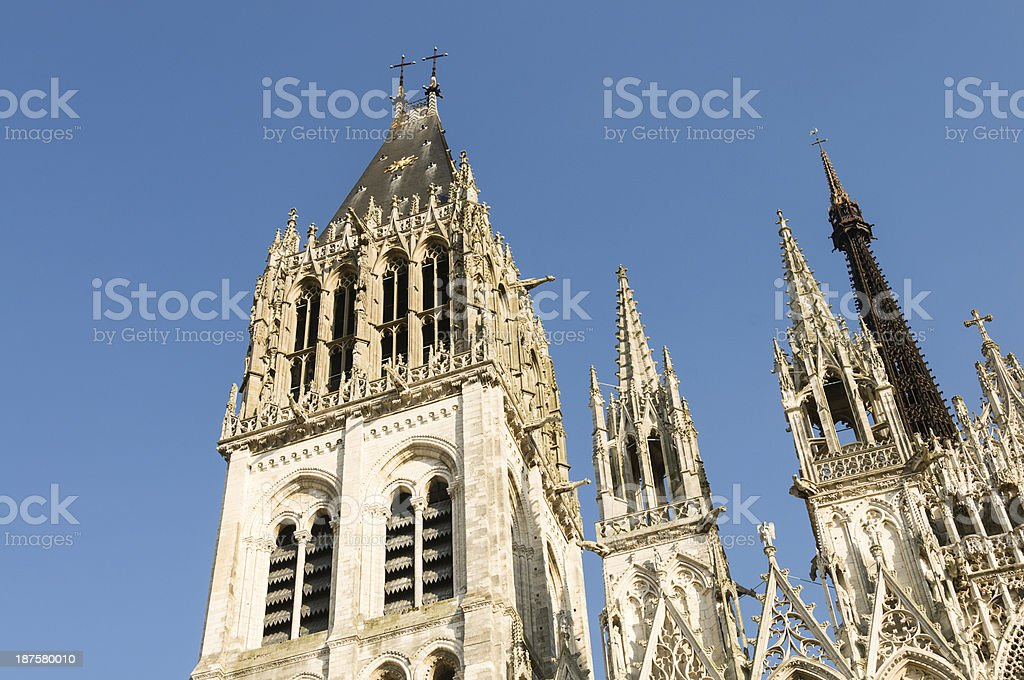 Spires of Rouen Cathedral royalty-free stock photo