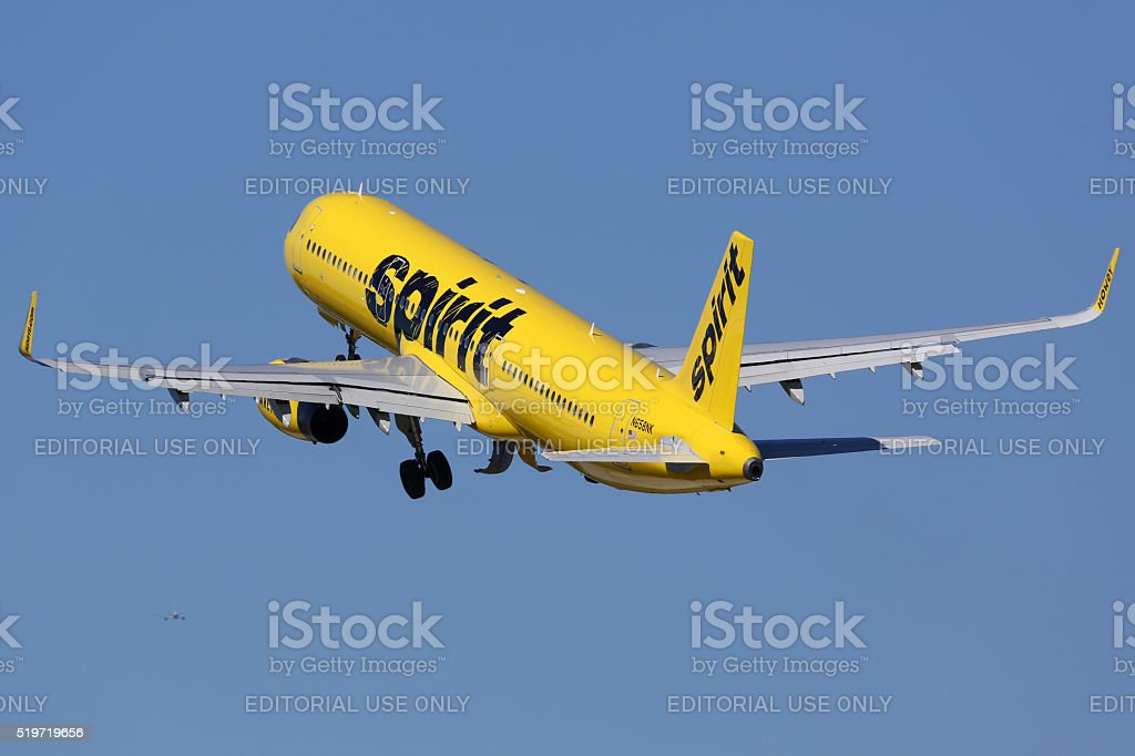 Spirit Airlines Airbus A321 airplane Fort Lauderdale airport stock photo