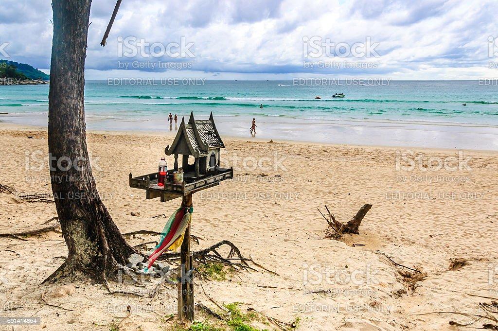 Spirit house on beach, Phuket, Thailand stock photo