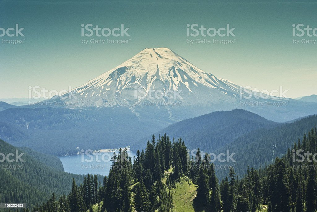 Spirit Lake and Mount Saint Helens Before the Eruption stock photo