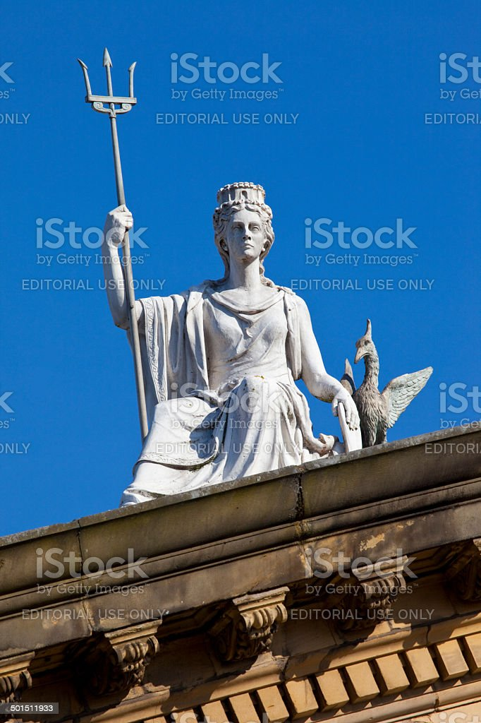 Spirit of Liverpool Statue on the Walker Art Gallery Building stock photo