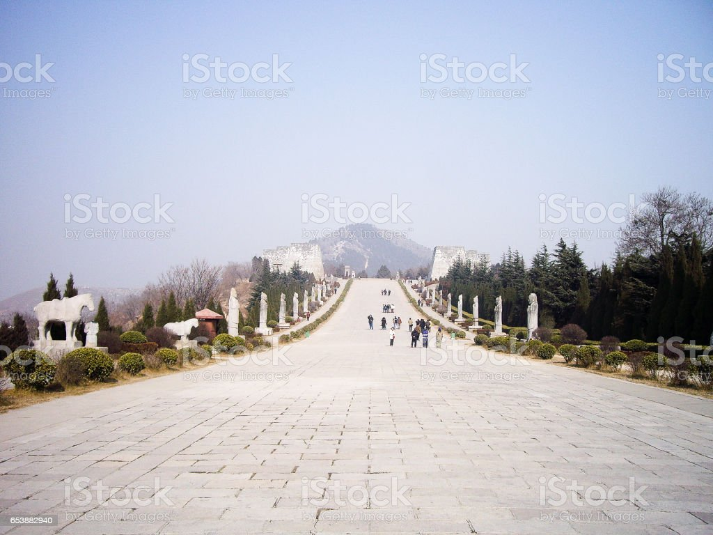 Spirit Way of Qianling Mausoleum - Mausoleum of Emperor Gaozong and Wu Zetian in Tang dynasty, Xian, China stock photo