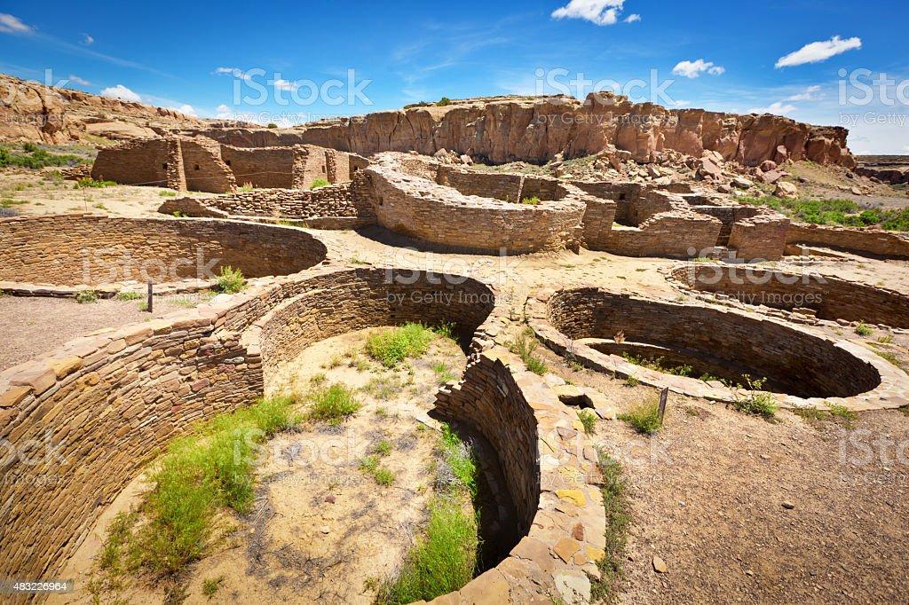 Spiritual Kiva in Chaco Canyon National Historical Park, New Mexico stock photo