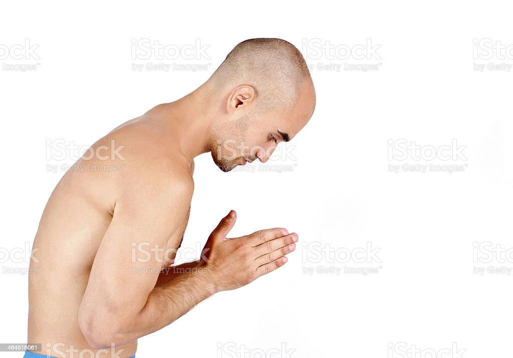 Spiritual man praying and meditating. royalty-free stock photo