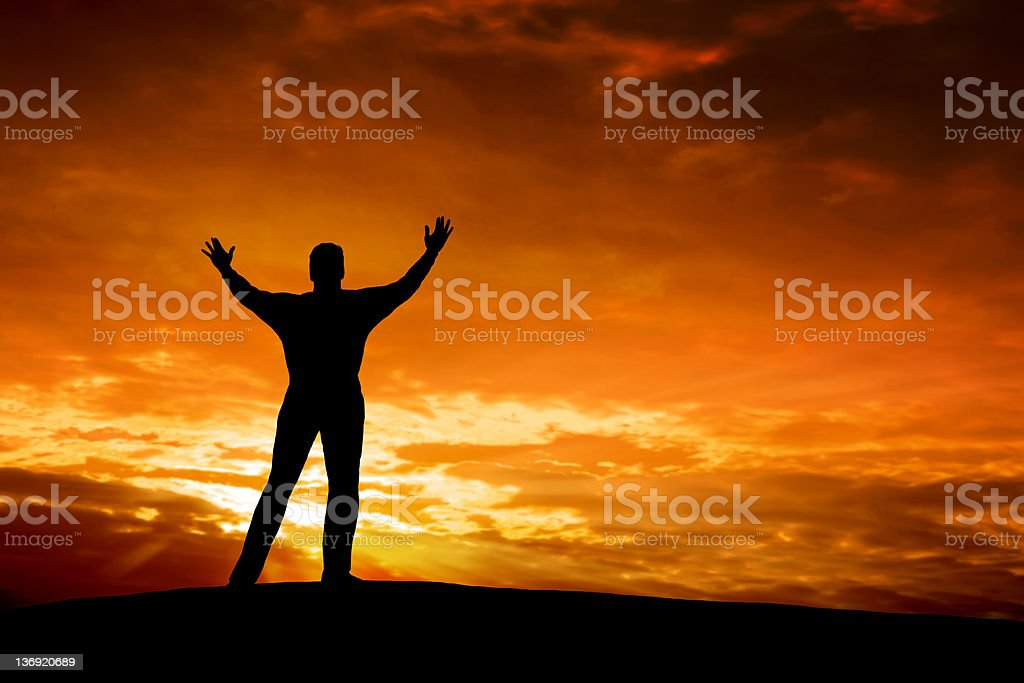 XXXL spiritual man silhouette stock photo