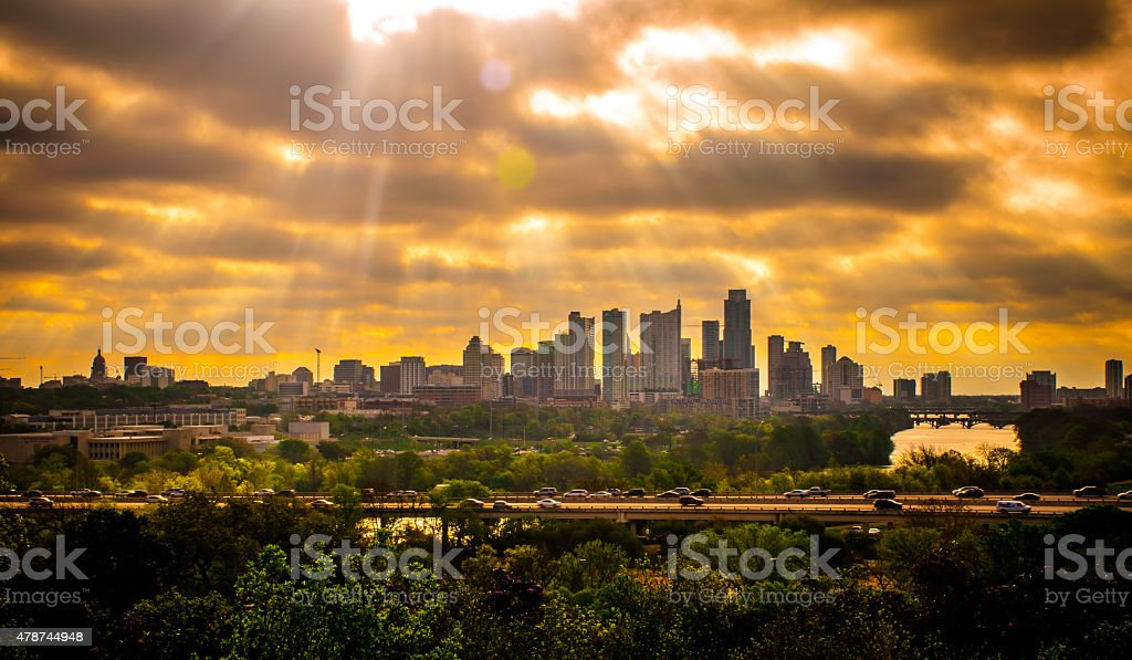 Spiritual Sun Beams Shining Down on Austin Texas stock photo