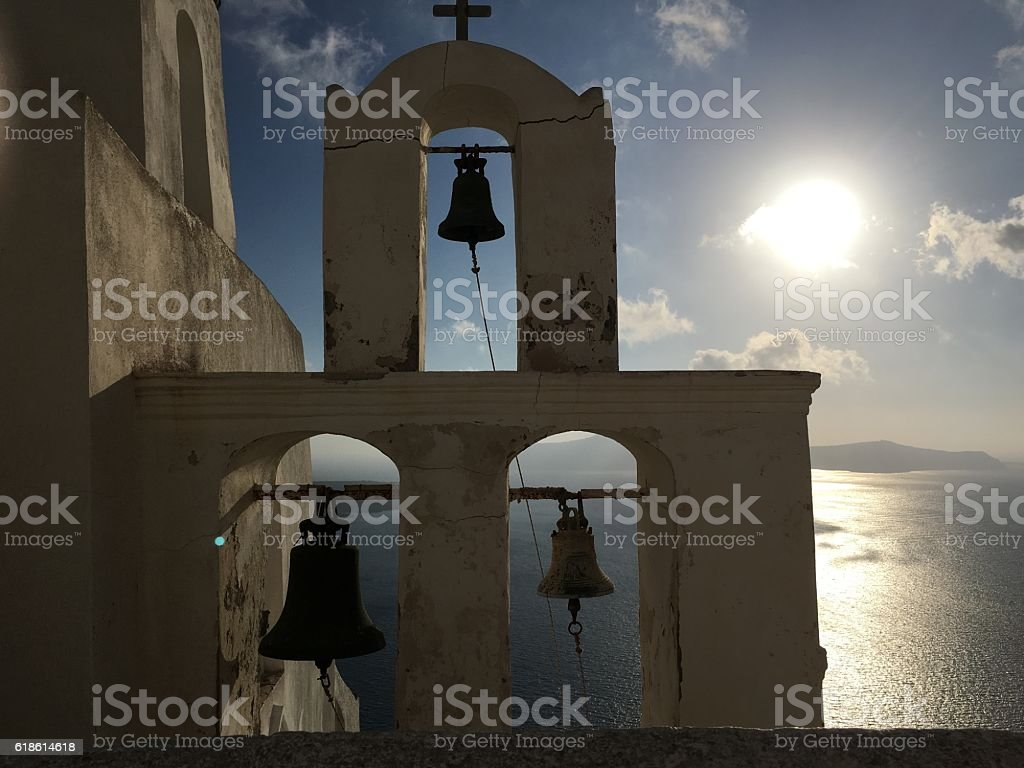 Spiritual sunset in Greece stock photo