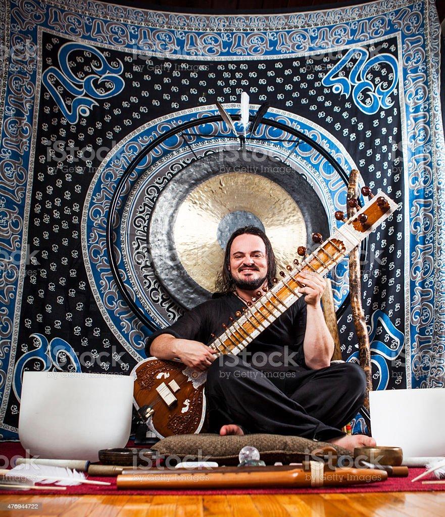 Spiritual Vibrational Sound Healer Portrait stock photo
