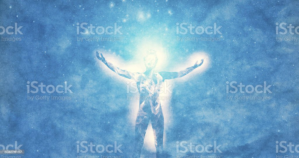 Spirituality and cosmic energies stock photo