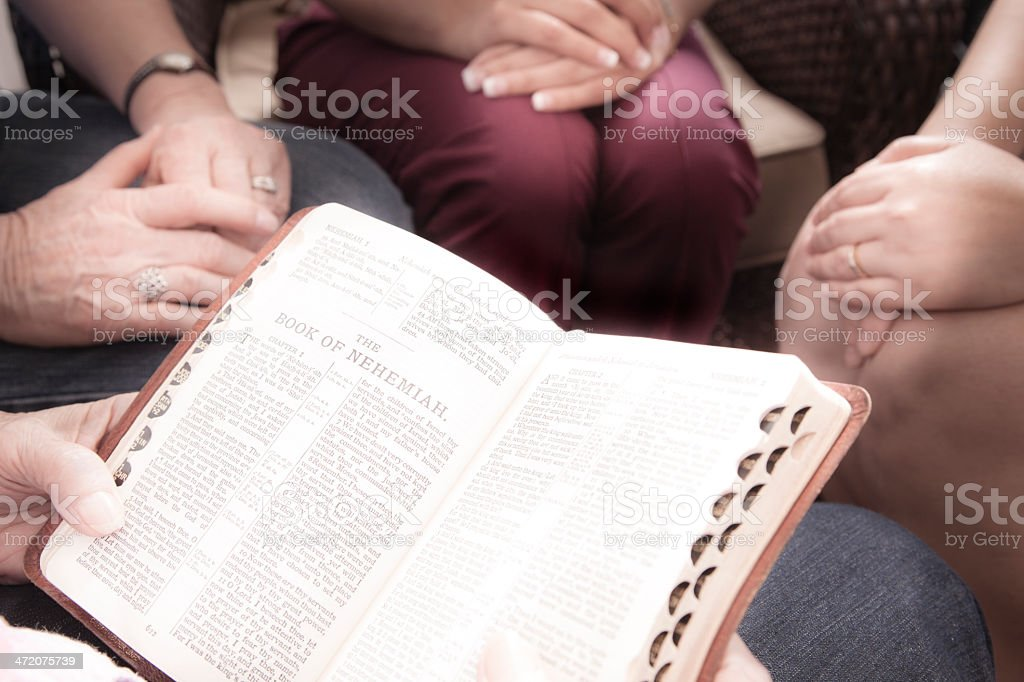 Spirituality: Women's prayer group studies Nehemiah. stock photo