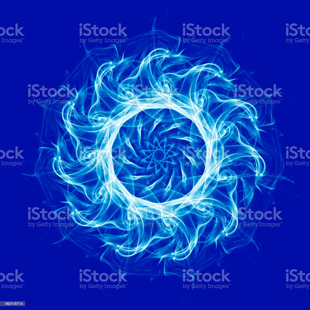Spirograph design pattern on blue background stock photo