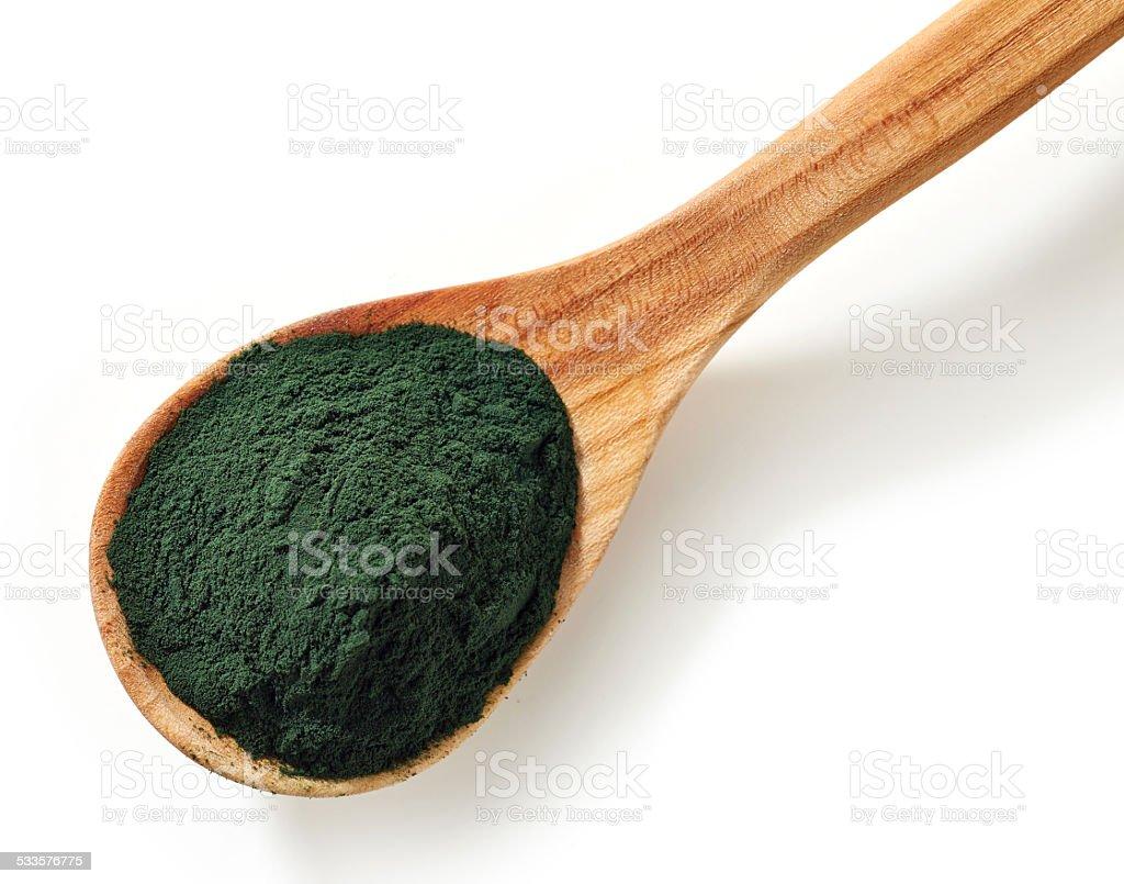 Spirulina algae powder stock photo