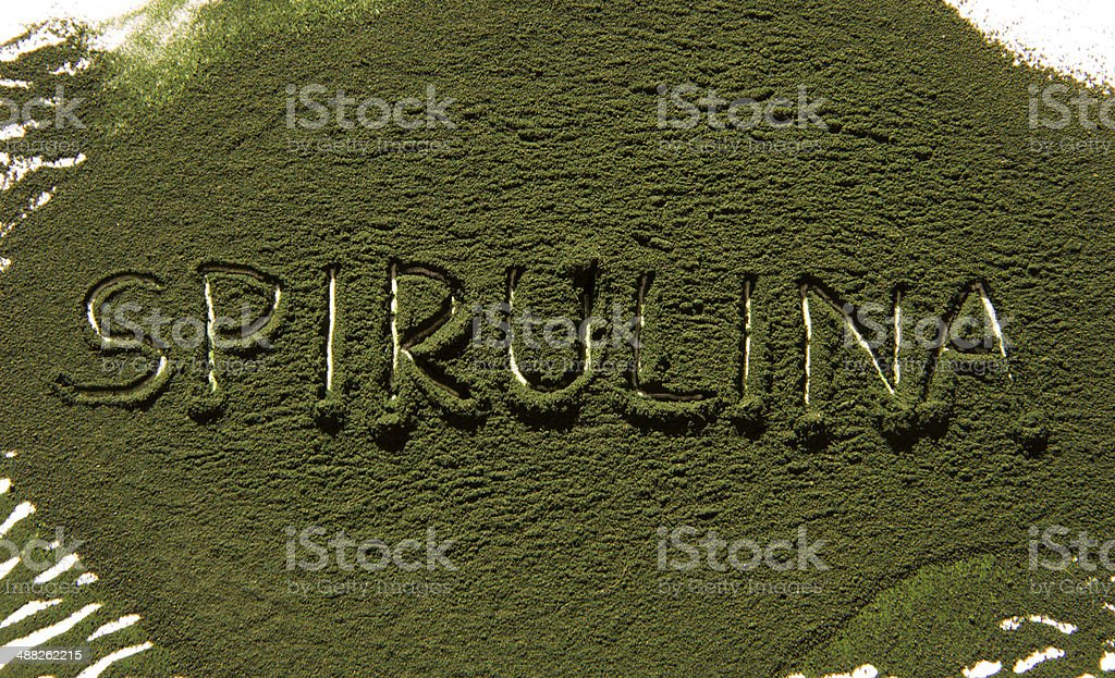 Spirulina inscription stock photo