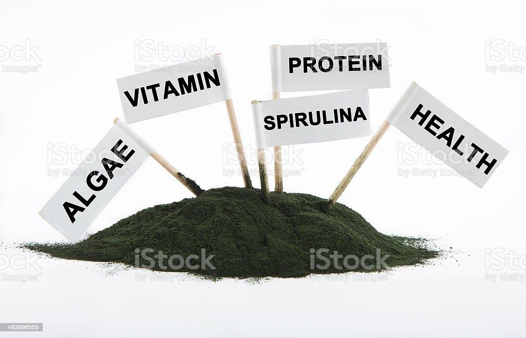 Spirulina powder algae isolated on white background with text on stock photo