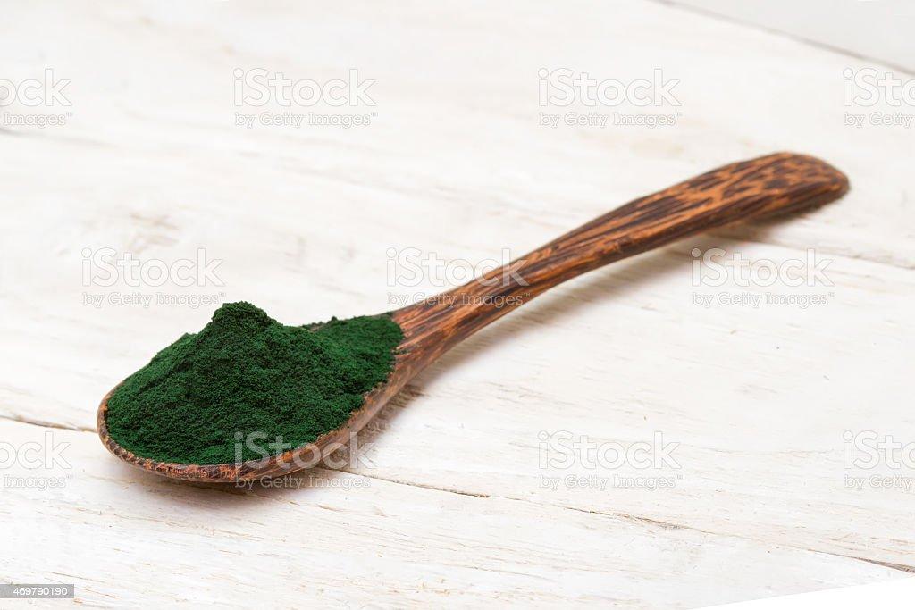 Spirulina powder stock photo