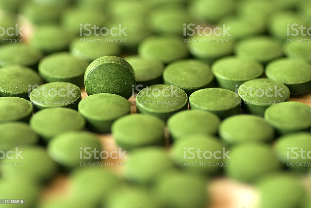 Spirulina tablets stock photo