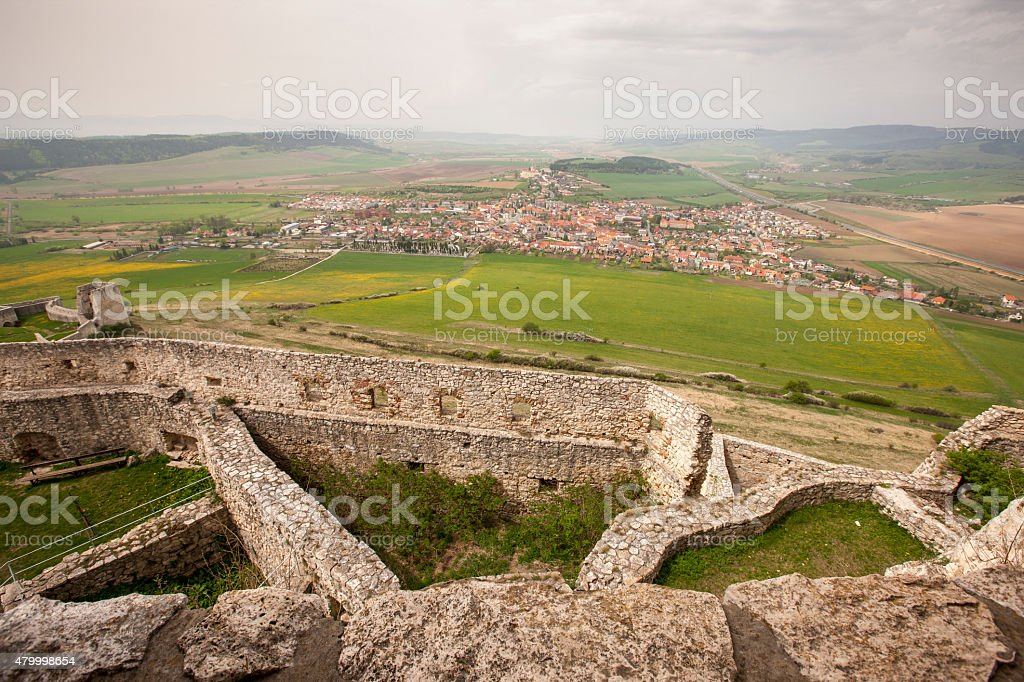 Spissky castle - Look from tower to south and courtyards stock photo