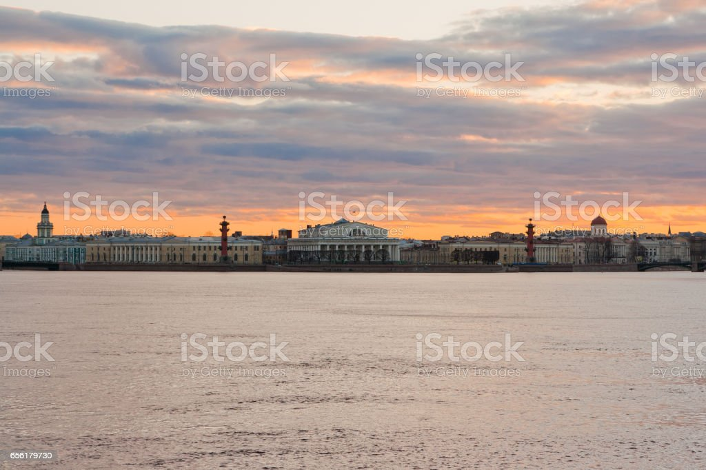 Spit of Vasilevsky Island and River Neva, Saint Petersburg, Russia stock photo