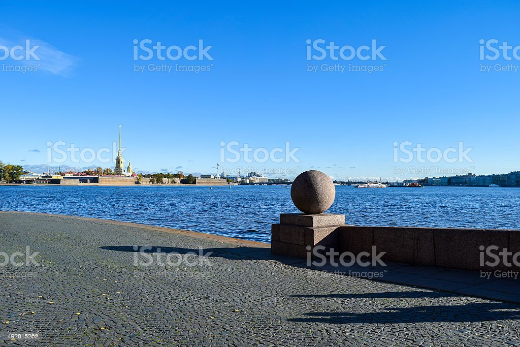 Spit of Vasilievsky island in St. Petersburg. stock photo