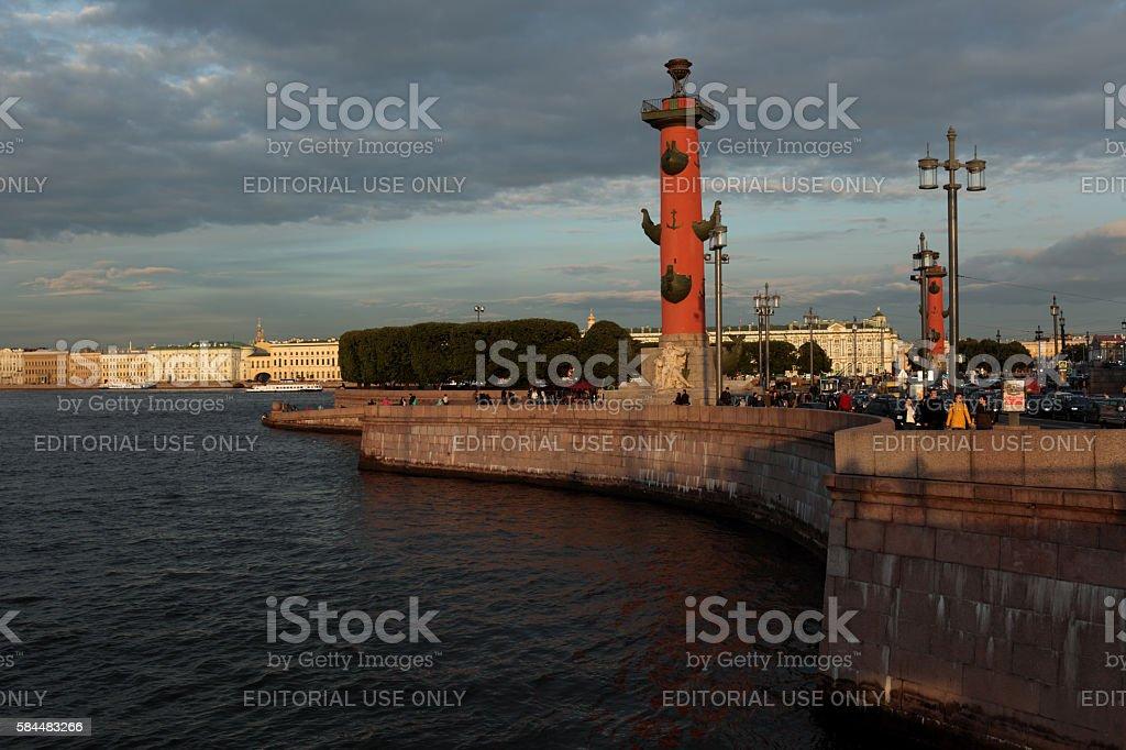 Spit of Vasilyevsky Island stock photo
