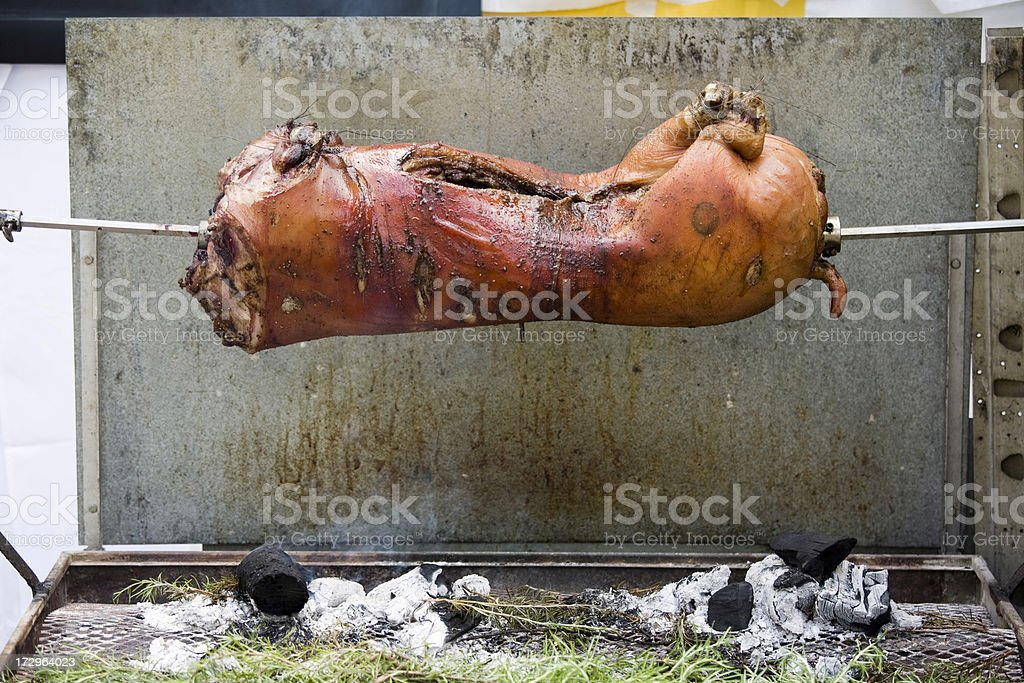 Spit Roasted Pork upside down royalty-free stock photo