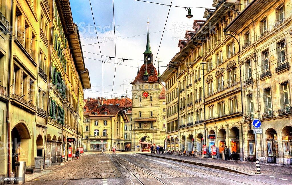 Spitalgasse street and Kafigturm tower - UNESCO heritage site stock photo