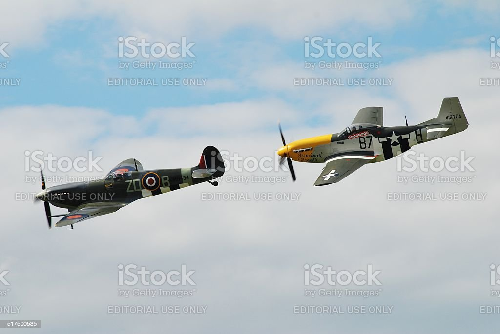 Spitfire and Mustang formation stock photo