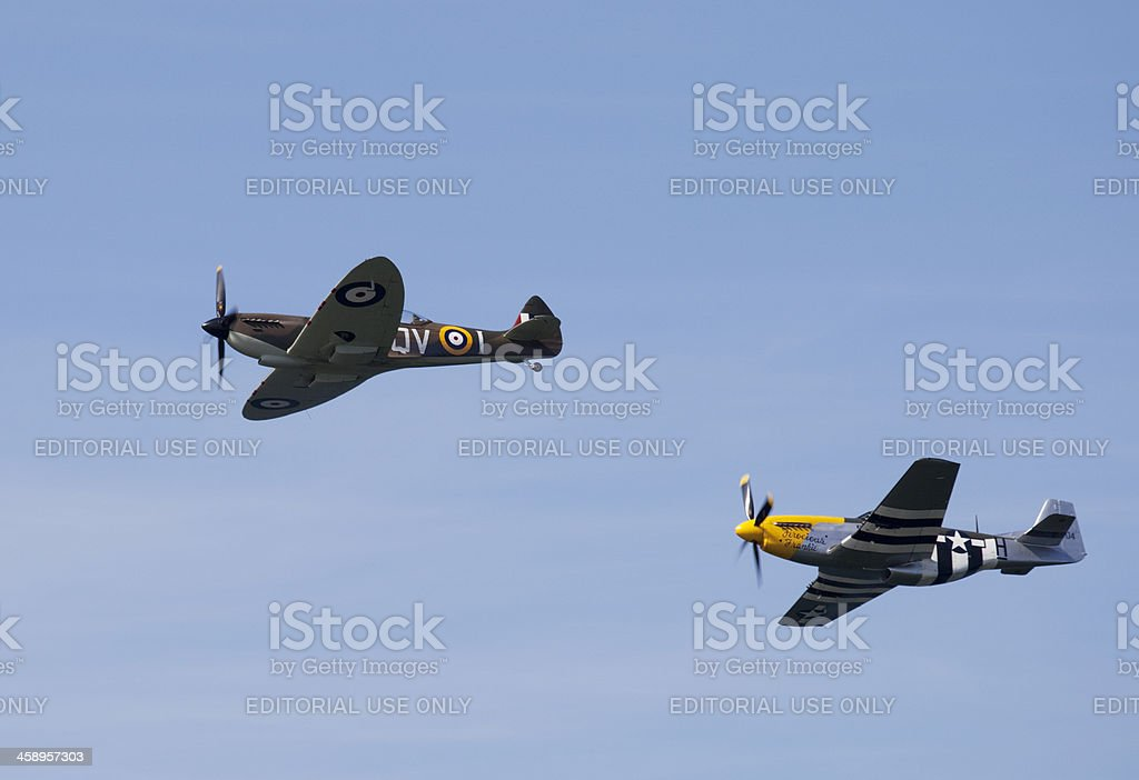 Spitfire and Mustang stock photo