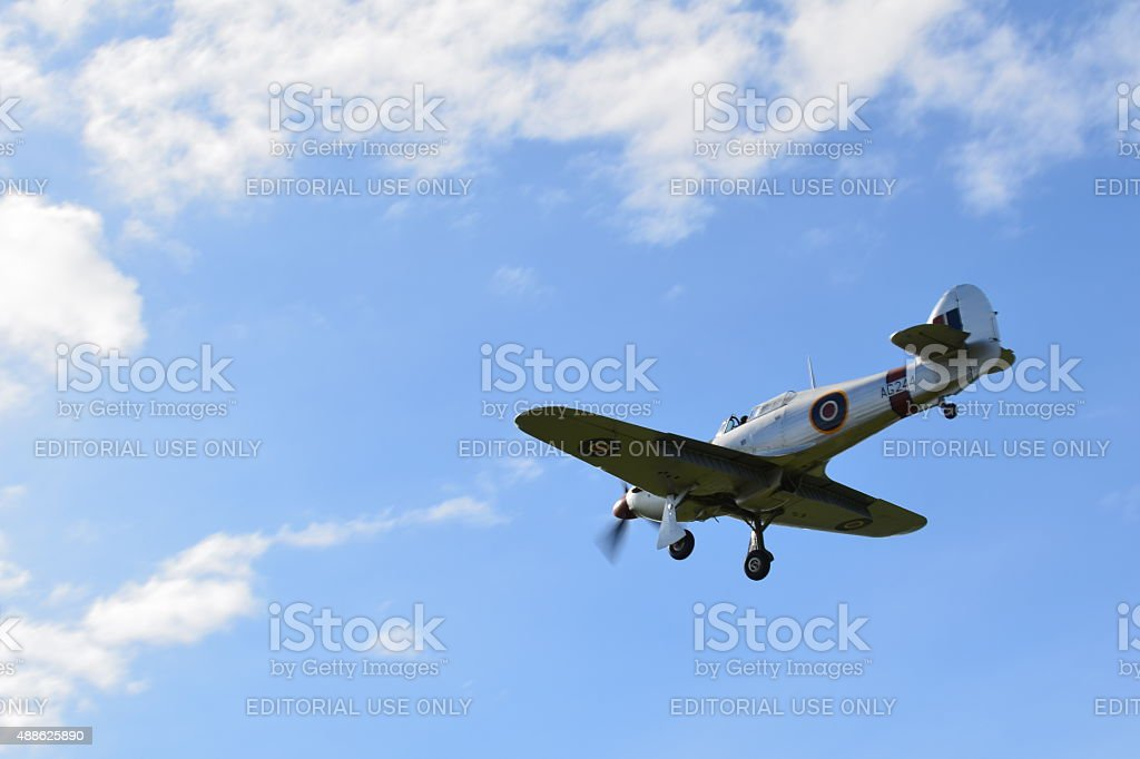 Spitfire fighter plane with landing gear down. stock photo