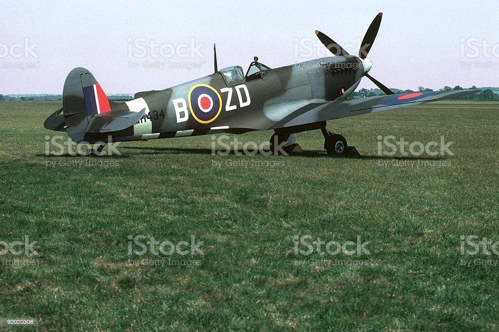 Spitfire Parked on Grass royalty-free stock photo