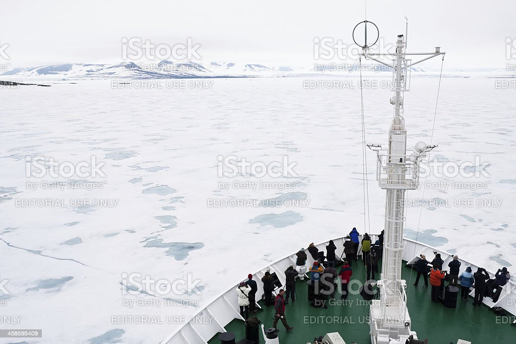 Spitsbergen and Icebergs in the Arctic stock photo