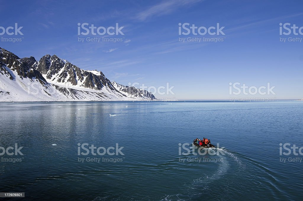 Spitsbergen Norway, Arctic boat adventure in Magdalenefjord stock photo