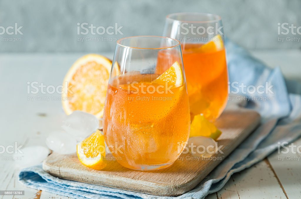 Spitz aperol cocktail in glasses stock photo