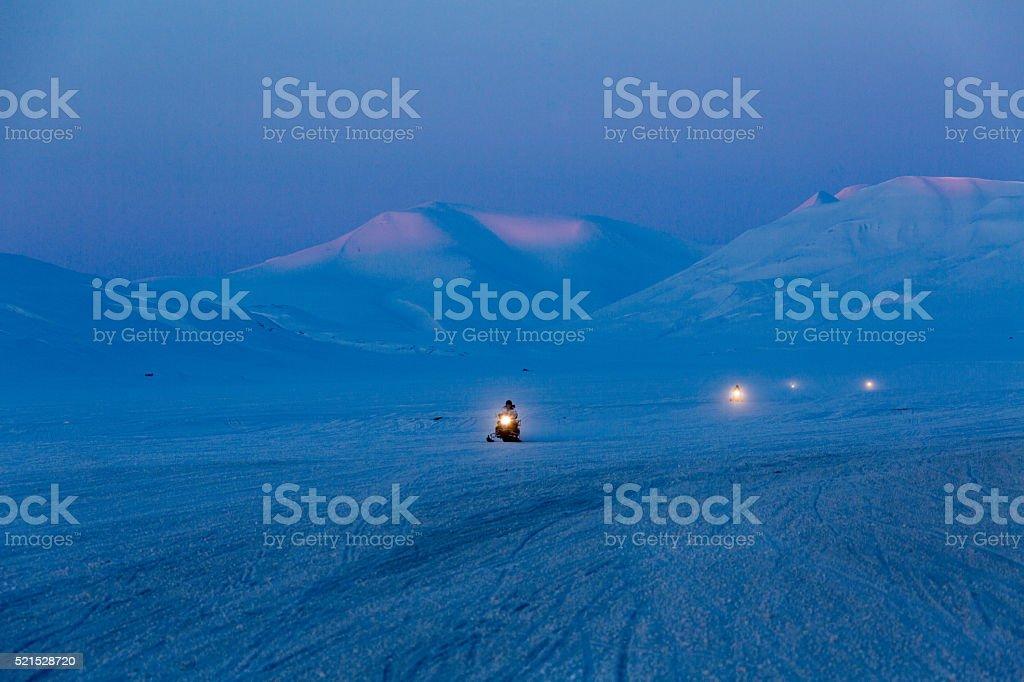 Spitzbergen scooter excursion stock photo