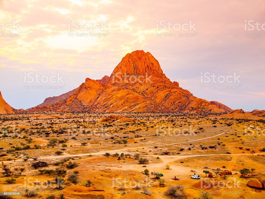 Spitzkoppe, aka Sptizkop - unique rock formation of pink granite stock photo