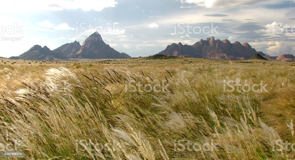 Spitzkoppe Namibia mountain rock volcano granite outcrop koppie grass wheat stock photo
